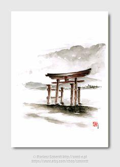 Cool mens gift Anniversary gift Torii Gate japanese art by Szmerdt, $30.00