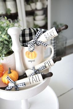 Rolling Pin Decor-Set of Tray-Rae Dunn Halloween Home Decor, Halloween House, Fall Halloween, Small Space Interior Design, Tiered Stand, Seasonal Decor, Fall Decorations, Thanksgiving Decorations, Holiday Decor