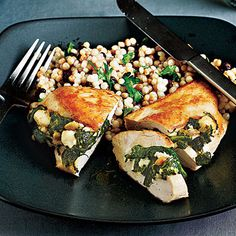 Chicken stuffed with spinach, feta and pine nuts.