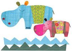 Hippo Duo Art Print