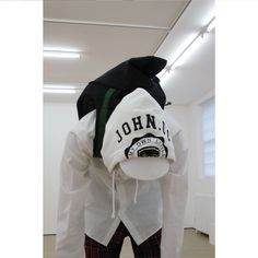 Featuring large 'J' appliqué and dark green webbing straps. Nike Jacket, Rain Jacket, Futuristic Design, World Of Fashion, Collaboration, Fashion Backpack, Bring It On, Dark, Green