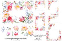 Watercolor DIY roses graphics set by Digital art shop on Creative Market