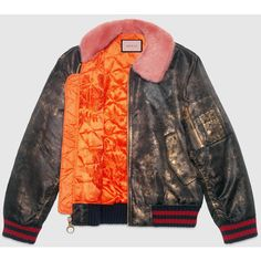 Gucci Guccighost Hand Painted Bomber ($4,325) ❤ liked on Polyvore featuring outerwear, jackets, snake print jacket, bomber jacket, oversized bomber jacket, fur jacket and bomber style jacket