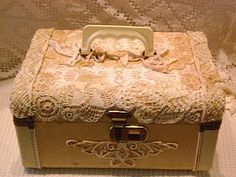 Lace covered case - hummm, how about covering a bookcase, dresser or headboard like this?