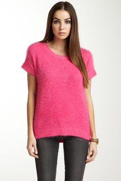 Smitten Short Sleeve Fuzzy Sweater in bright bubblegum pink