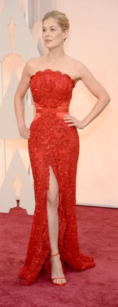 Rosamund Pike wearing Givenchy | Oscars Red Carpet 2015 via Getty Images