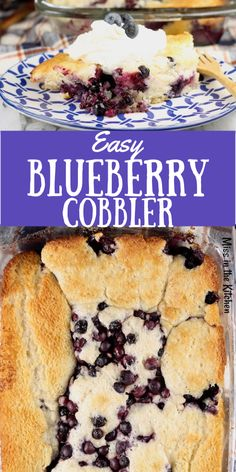 Easy Blueberry Cobbler Easy Blueberry Cobbler is a classic cobbler that is one of the easiest desserts you can make. Just a few simple ingredients and 10 minutes of prep. Topped with vanilla ice cream or fresh whipped cream, it is a guaranteed favorite. Easy Blueberry Desserts, Blueberry Cobbler Recipes, Homemade Desserts, Best Dessert Recipes, Fruit Recipes, Easy Desserts, Sweet Recipes, Delicious Desserts, Blueberry Cobler