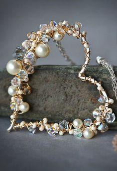 Perle und Kristall Sterling und Golddraht umwickelt von Mayahelena #goldjewelryi... - #Golddraht #goldjewelryi #Kristall #Mayahelena #perle #Sterling #umwickelt #und #von