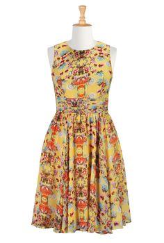 Yellow Garden Party Dresses, Floral Bloom Chiffon Dresses Shop women's Full sleeve dresses - Sundress - Shop for Sundresses - Custom size an...