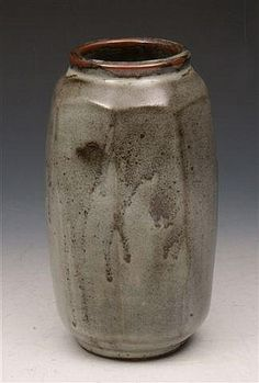"DAVID LEACH (1911-2005) An octagonal stoneware vase, ash grey glaze, impressed potter's seal to the base, 8 3/4"" high"