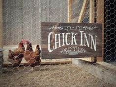 """Rustic Wood Sign """"Chick Inn"""" for Chicken Coop, Hen House, Garden or Indoor Decor by UrbanFringeLiving on Etsy https://www.etsy.com/listing/236900857/rustic-wood-sign-chick-inn-for-chicken"""