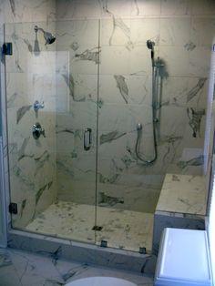 Frameless Shower Door with Notched Panel Richmond Va