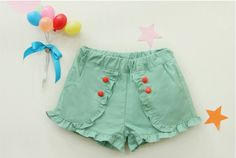Vintage Inspired Baby & Children's Clothes Vindie Vintage Inspired Blue Baby Girl Shorts