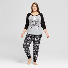 Women's Plus Size Nightmare Before Christmas Jack Skellington 2pk Thermal Pajama Set - Gray/Black/White 3X, Black Gray