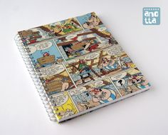 Hardcover notebook made with 4 pages from an old «Asterix at the Oympic Games» comic.