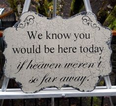 We Know You Would Be Here Today... Wedding Table Decor Sign Vintage Antique Shabby Chic Style by judith