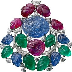 """CARTIER. """"Rajasthan"""" Brooch - platinum, one 16.40-carat carved sapphire from Burma, carved rubies, sapphires diamonds,  and emeralds, one"""