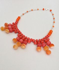 Orange n Black by Dawn on Etsy Crystal Necklace, Beaded Necklace, Orange Necklace, Armada, Cool Necklaces, Agates, Simple Necklace, Vintage Gifts, Handcrafted Jewelry