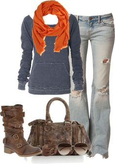 Maybe not so many holes but cute laid back game day outfit as weather starts to cool off
