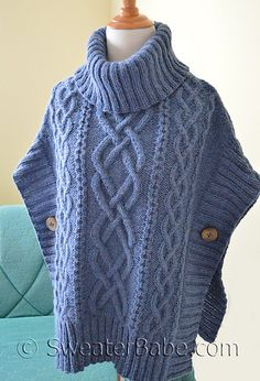 Ravelry: Noe Valley Sweater pattern by SweaterBabe - sky blue cabled Aran poncho w/ cowl Poncho Knitting Patterns, Crochet Poncho, Knitted Shawls, Knit Patterns, Free Knitting, Sweater Patterns, Knitting Machine, Stitch Patterns, Knitwear