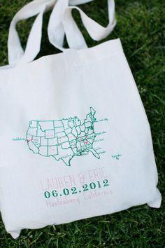 Map Wedding Welcome Bags