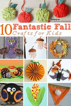 10 Fantastic Fall Crafts for Kids including paper plate crafts, handprint crafts, toilet paper rolls, popsicle sticks, and more!