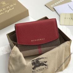 Burberry Luna House Check And Leather Wallet In Red Burberry Outlet Online, Cheap Burberry, Sale Store, Calf Leather, Leather Wallet, Calves, Red, Check, House
