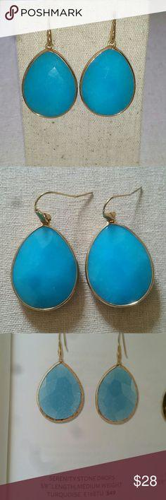 """Stella & Dot Serenity Stone Drop Earrings S&D Serenity Stone Drop Earrings in turquoise & gold, slightly heavier, EUC 3/8"""" length Stella & Dot Jewelry Earrings"""