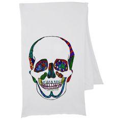 Hand Drawn Colorful Anatomical Sugar Skull Mosaic Scarf #zazzle #scarves #skulls #sugarskulls #ink #tattooart