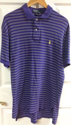 Polo By Ralph Lauren Purple Striped Polo Shirt Short Sleeved Size Medium Cotton  #PoloRalphLauren #PoloRugby