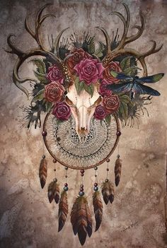 Shop for Deer & Red Roses Art Diamond Painting Kit at Pretty Neat Creative with ✅ Softest canvas, Sparkliest beads ✅ Most Durable Package ✅ WARRANTY. Bull Skull Tattoos, Antler Tattoos, Bull Skulls, Deer Skulls, Skull Wall Art, Deer Skull Drawing, Skull Painting, Painting Art, Herz Tattoo