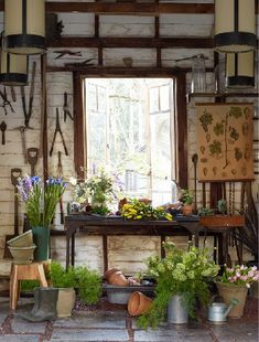 A potting shed with tools and pots. Nothing quite as lovely as rusty farm tools hanging from the wall, just waiting to meet with your flesh. Hahaha ;)