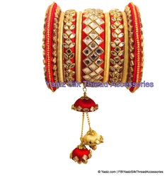 Yaalz Silk Thread Heavy Kundan Stone Bridal Bangle Set In Red & Cream Colors - Bangle Galery Silk Thread Bangles Design, Silk Thread Necklace, Thread Jewellery, Fabric Jewelry, Kundan Bangles, Silk Bangles, Bridal Bangles, Bridal Jewelry, Flower Jewelry