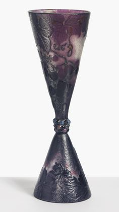 ** Emile Gallé, Nancy, (1846-1904), Blown, Internal Inclusions, Cased, and Engraved Glass Vase.
