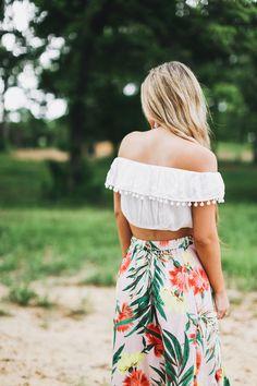 Tropical palm print midi skirt + Pom Pom top