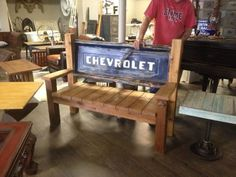 1956 Chevy truck tailgate bench. Reclaimed red cedar. This is a very cool piece! Thank you Kenneth lee Designs >>> SOLD