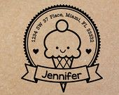 NEW Rubber Stamps in the new shop!   Personalized Ice Cream Cone Rubber Stamp ( Wood Engraved or Self Inked) 0016