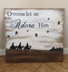 O come let us adore Him pallet sign by RusticreationsLR on Etsy