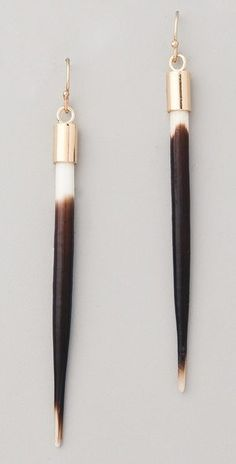 Kristen Elspeth African quill earrings - $165!  Lord have mercy - so funky though!  Hmmmmm