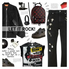 """Let it Rock!"" by giulls1 ❤ liked on Polyvore featuring Alexander McQueen, STELLA McCARTNEY, Alexander Wang, Old Navy, Master & Dynamic, black, rock and grunge"
