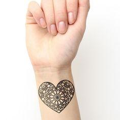 Heart shaped mandala temporary tattoo. Buy here >>>