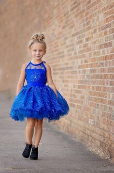 royal blue short flower girl dress for wedding