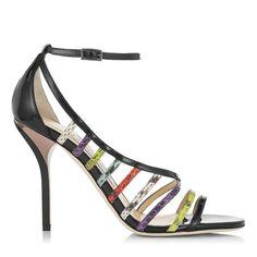 Vuka Multi Gloss Elaphe and Black Patent Sandals