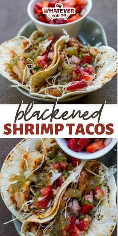 Quick shrimp tacos are blackened and cooked on the Blackstone before getting wrapped in a warm tortilla and doused in strawberry salsa. Shrimp Taco Recipes, Shrimp Tacos, Salmon Recipes, Fish Tacos, Outdoor Cooking Recipes, Grilling Recipes, Barbecue Recipes, Beef Recipes, Homemade Biscuits Recipe