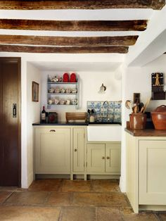 The Delft tiles that Alexandra already had fitted remain in situ above the kitchen sink. French Kitchen Decor, French Country Kitchens, Interior Design Kitchen, New Kitchen, Tudor Kitchen, Cosy Kitchen, English Kitchens, Kitchen Designs, Kitchen Ideas