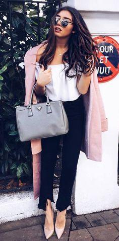 fall fashion trends / pastel coat + black jeans + nude heels