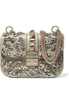 VALENTINO Lock embellished leather shoulder bag