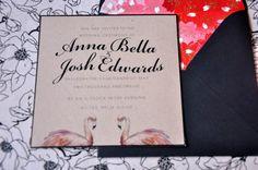 Romantic black and eco friendly paper, wedding invitation with flamingo illustration.