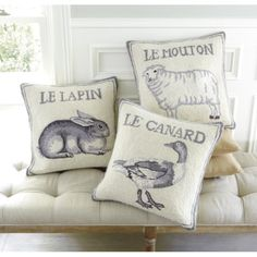 French Farm animal pillows