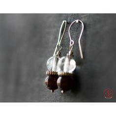 Garnet and Crystal earrings Garnet Earrings, Crystal Earrings, Drop Earrings, Crystals, Handmade, Jewelry, Hand Made, Jewlery, Bijoux